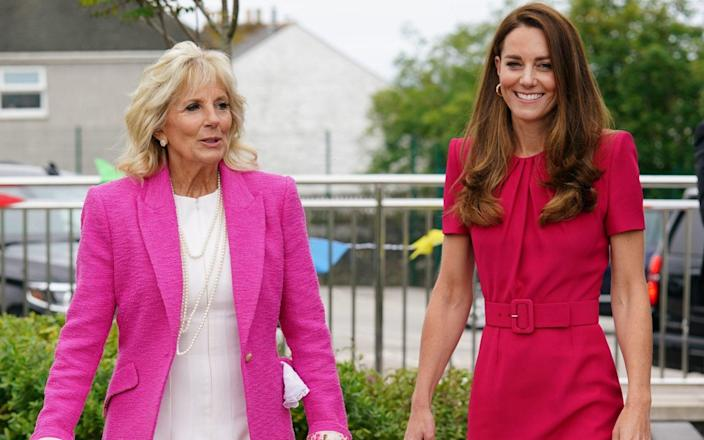 The Duchess of Cambridge and Jill Biden during their first meeting - Aaron Chown/PA Wire