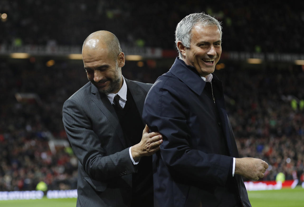 """Football Soccer Britain - Manchester United v Manchester City - EFL Cup Fourth Round - Old Trafford - 26/10/16 Manchester United manager Jose Mourinho and Manchester City manager Pep Guardiola before the match Reuters / Darren Staples Livepic EDITORIAL USE ONLY. No use with unauthorized audio, video, data, fixture lists, club/league logos or """"live"""" services. Online in-match use limited to 45 images, no video emulation. No use in betting, games or single club/league/player publications. Please contact your account representative for further details."""