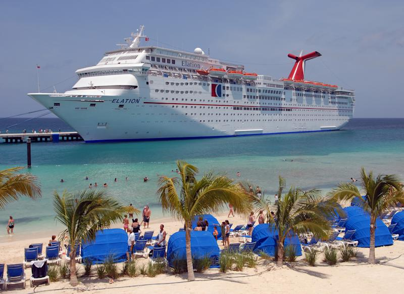 The carnival Elation cruise ship is shown here docked on Grand Turk island.