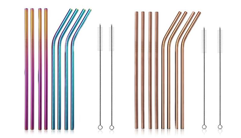 Stainless Steel Straws (8-Pack) in Rainbow and Rose Gold. (Photo: Yahoo Lifestyle Store)