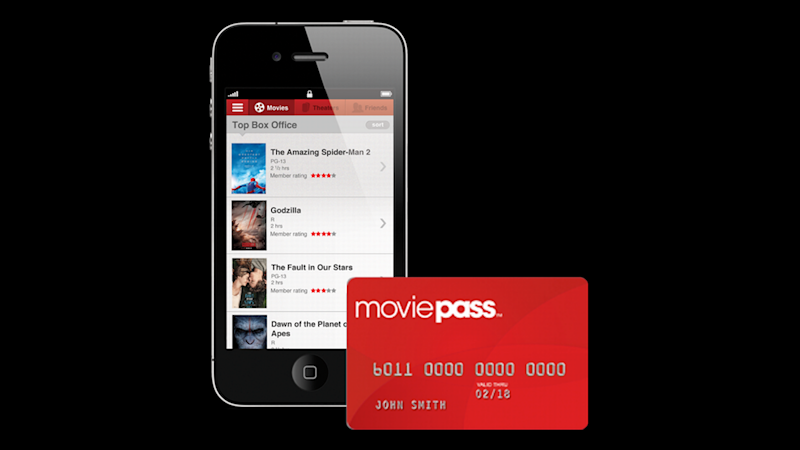 MoviePass debt card and the namesake app on a smartphone.