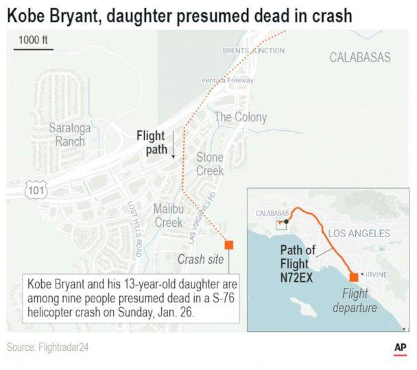 PHOTO: Map show the flight path and location of the crash of the helicopter carrying NBA star Kobe Bryant. (AP)