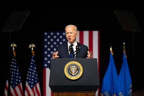 PHOTO: President Joe Biden speaks at a rally during commemorations of the 100th anniversary of the Tulsa Race Massacre on June 01, 2021 in Tulsa, Oklahoma. (Brandon Bell/Getty Images)