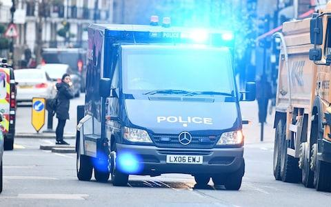 An armored Police vehicle carrying terror suspects Naa'imur Zakariyah Rahman, 20, and Mohammed Aqib Imran, 21, arrives at Westminster Magistrates Court - Credit: Ben Cawthra/London News Pictures