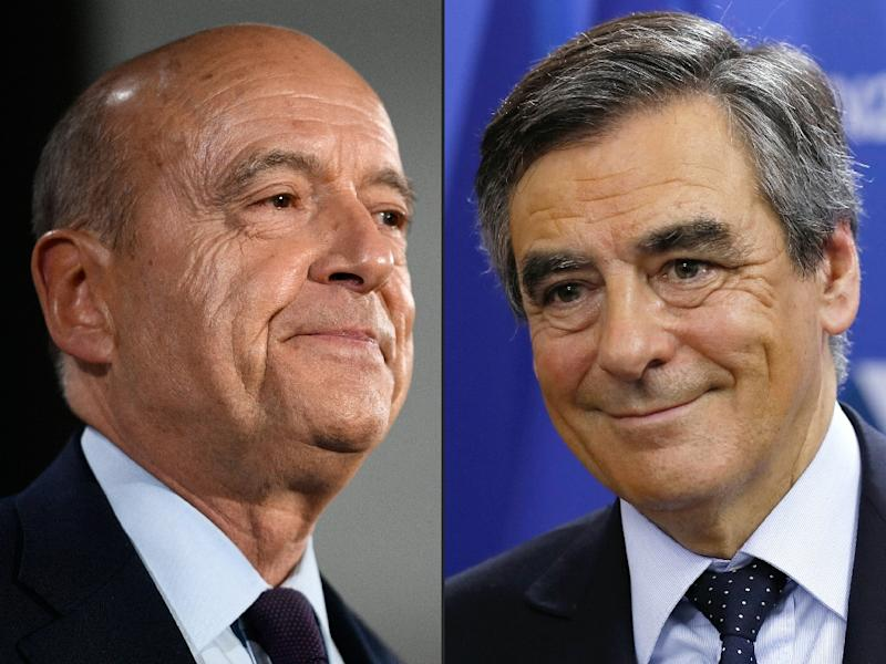 Alain Juppe (L) faces Francois Fillon (R) in Sunday's rightwing primary runoff in France