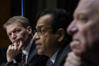 FireEye CEO Kevin Mandia, SolarWinds CEO Sudhakar Ramakrishna and Microsoft President Brad Smith testify during a Senate Intelligence Committee hearing on Capitol Hill on Tuesday, Feb. 23, 2021 in Washington. (Drew Angerer/Photo via AP)