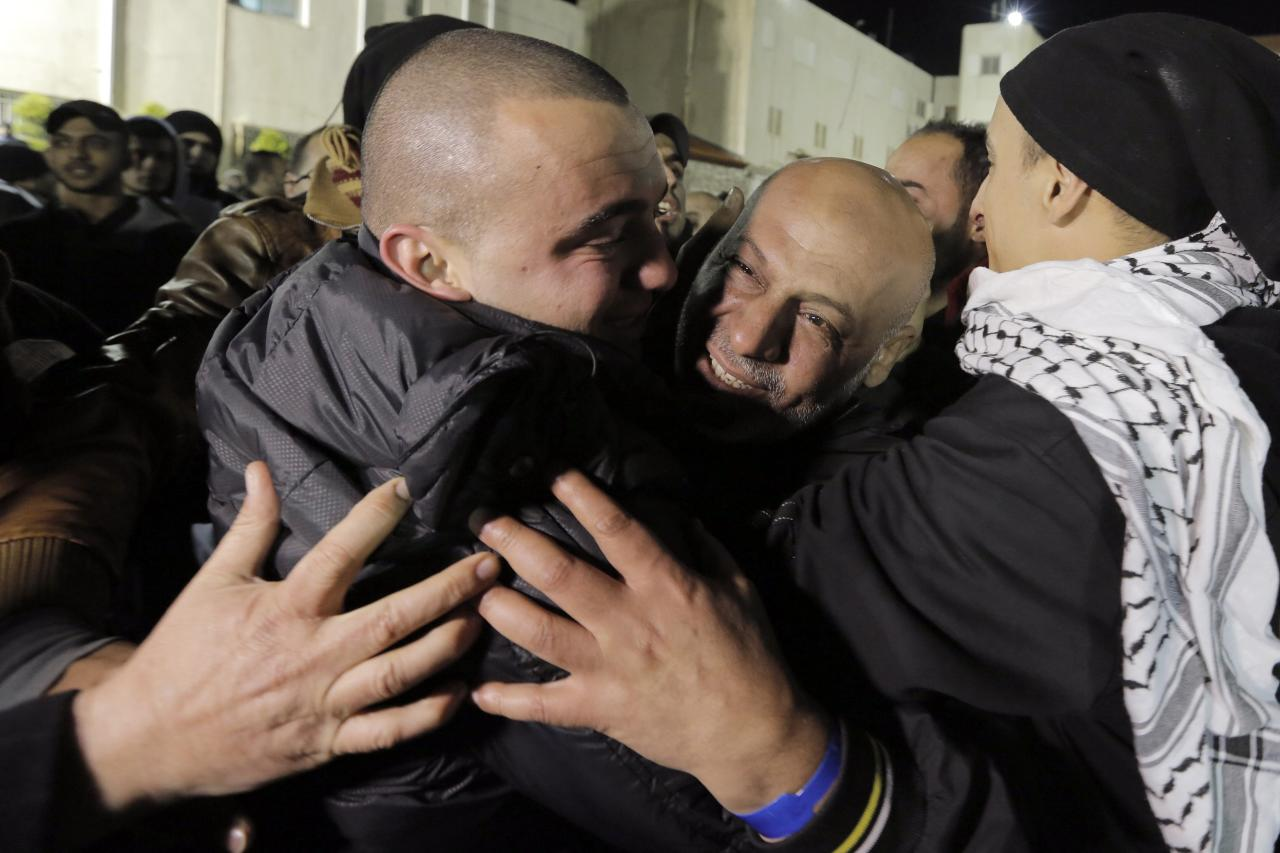 A prisoner released from Israeli prison (2nd R) is welcomed by relatives in the West Bank city of Ramallah early December 31, 2013. Israel set free 26 Palestinian prisoners on Tuesday as part of U.S.-brokered peace efforts, after pledging to press ahead with plans to build more homes in Jewish settlements. REUTERS/Ammar Awad (WEST BANK - Tags: POLITICS)