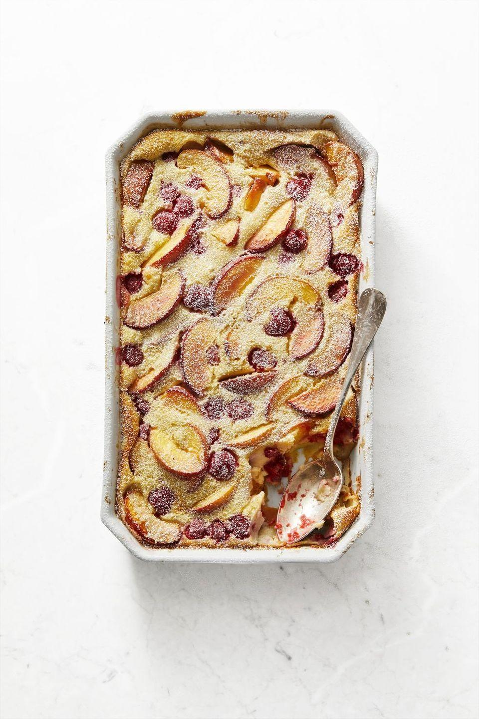 """<p>Pull out your blender to make this french pancake bake. Plus, the leftovers make for the perfect breakfast. </p><p><em><a href=""""https://www.goodhousekeeping.com/food-recipes/a28541890/vanilla-bean-clafoutis-with-raspberries-and-nectarines-recipe/"""" rel=""""nofollow noopener"""" target=""""_blank"""" data-ylk=""""slk:Get the recipe for Vanilla Bean Clafoutis with Raspberries and Nectarines »"""" class=""""link rapid-noclick-resp"""">Get the recipe for Vanilla Bean Clafoutis with Raspberries and Nectarines »</a></em></p>"""