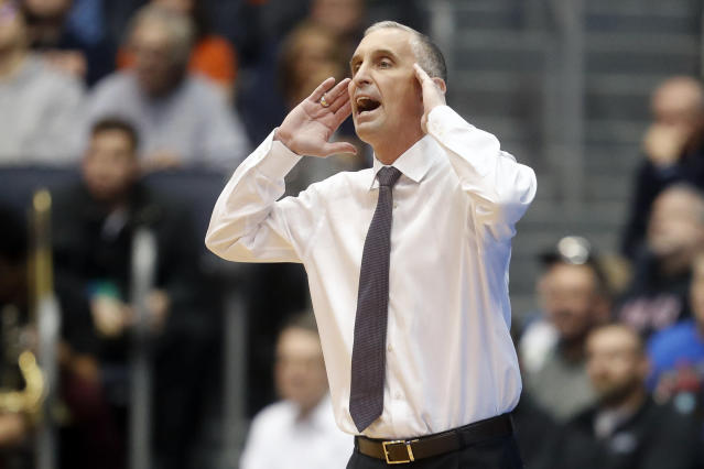 FILE - In this March 14, 2018, file photo, Arizona State coach Bobby Hurley shouts to his players during the first half of an NCAA college basketball tournament First Four game in Dayton, Ohio. Arizona State broke through to the NCAA Tournament for the first time in four years last season. The Sun Devils lost key players from that team, but are building toward making it consecutive NCAA Tournaments. (AP Photo/John Minchillo, File)