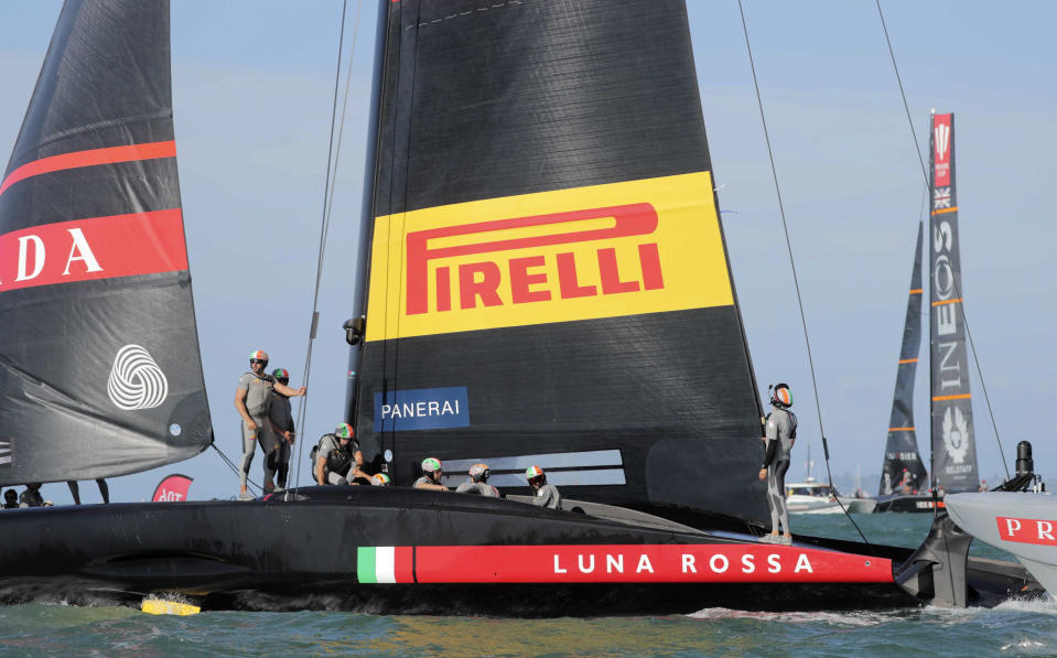 Italy's Luna Rossa sails after defeating Britain's INEOS Team UK in race two of the Prada Cup on Auckland's Waitemata Harbour, New Zealand, Saturday, Feb. 13, 2021. (Michael Craig/NZ Herald via AP)