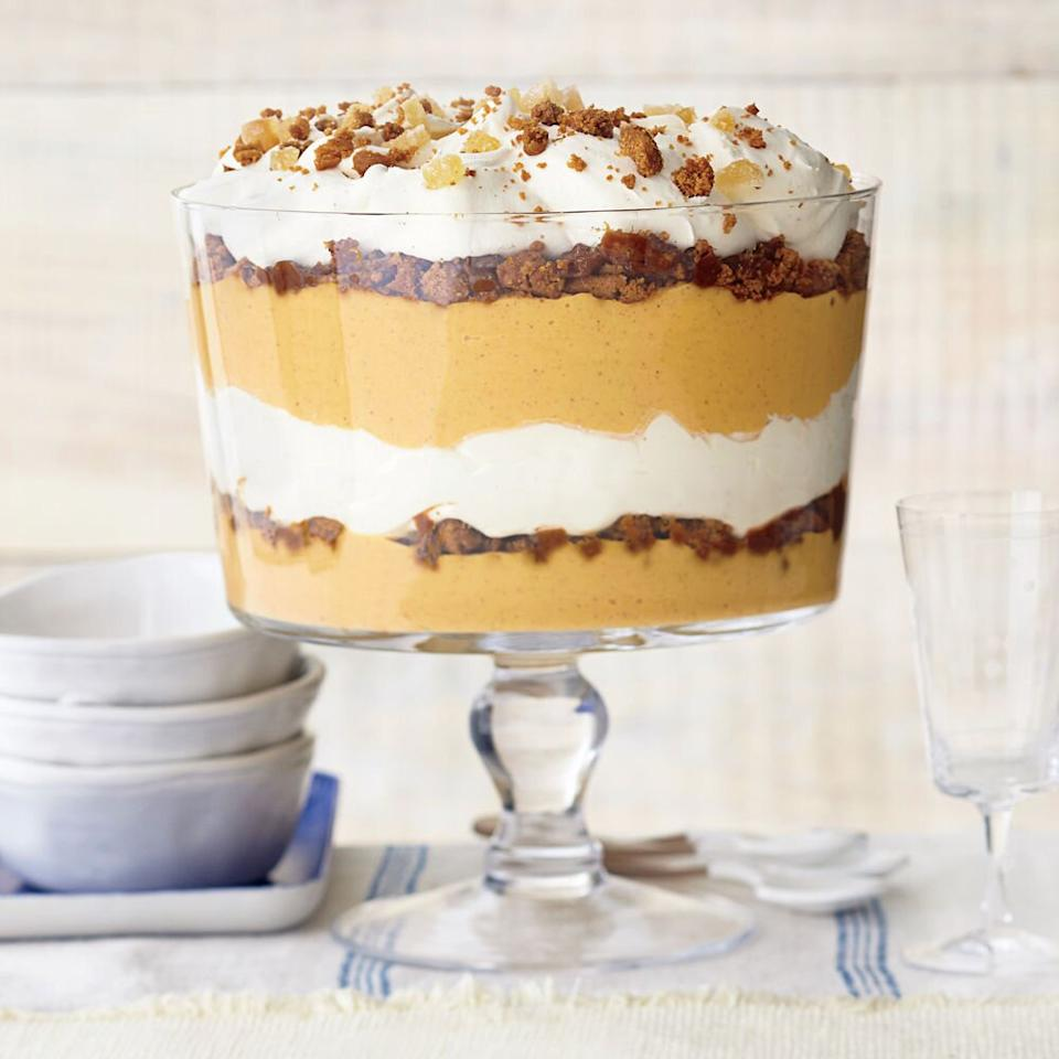 """<p><strong>Recipe: <a href=""""https://www.southernliving.com/syndication/ginger-pumpkin-trifle-vanilla-mascarpone-cream"""">Ginger-Pumpkin Trifle with Vanilla Mascarpone Cream</a></strong></p> <p>It's the unexpected flavor combination we never knew we needed. But, oh, we certainly do. This trifle is layered with the flavors of pumpkin, ginger, coffee, and rum. (And topped with a to-die-for vanilla-marscapone cream, too.) </p>"""