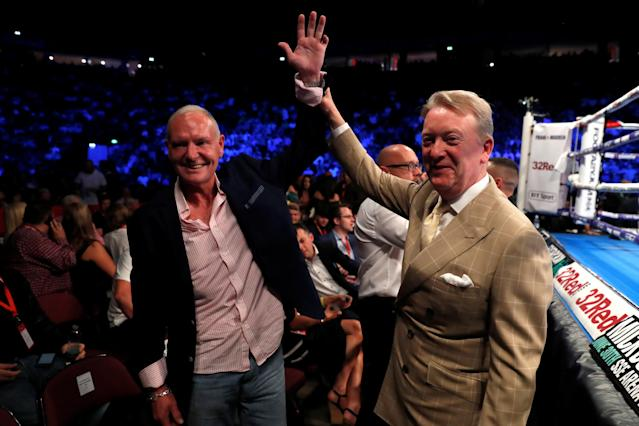 Boxing - Tyson Fury v Sefer Seferi - Manchester Arena, Manchester, Britain - June 9, 2018 Paul Gascoigne and promoter Frank Warren Action Images via Reuters/Andrew Couldridge