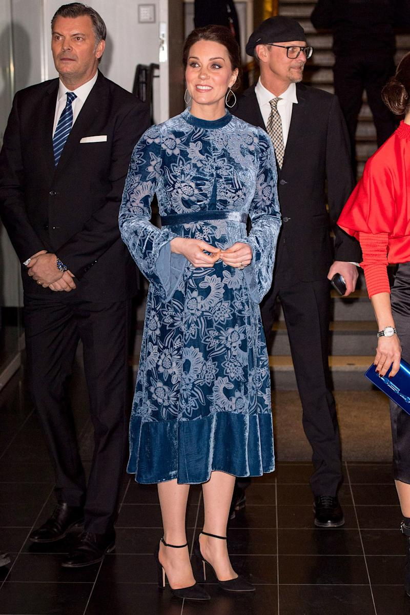 January 31: This is our first blue look from the Sweden-Norway tour. And, generally, this is a whole lot more look than we are used to from Kate, and we will let you decide for yourself what to make of it.