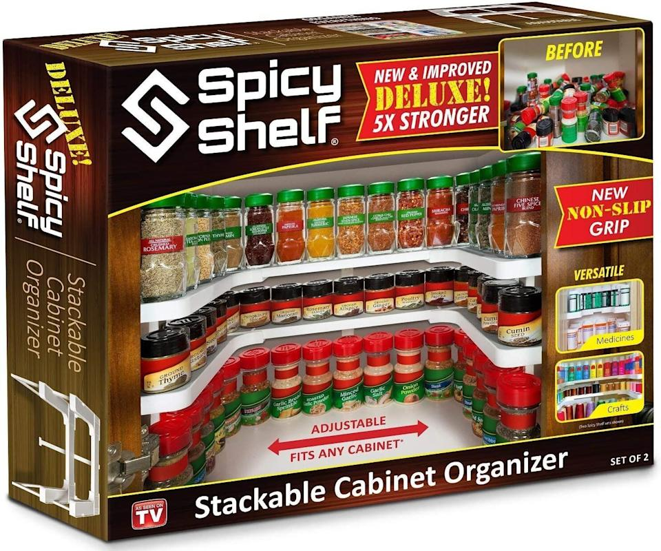 "<a href=""https://amzn.to/2SUUi4A"" target=""_blank"" rel=""nofollow noopener noreferrer"">The Spicy Shelf spice rack</a> is perhaps one of the most useful spice storage solutions out there. It creates two elevated rows of spice storage that sits along the perimeter of your spice cabinet, freeing up the middle area for larger pantry staples like oil, vinegar, sugar, flour, and canned goods. Normally $37, <a href=""https://amzn.to/2SUUi4A"" target=""_blank"" rel=""noopener noreferrer"">get it on sale for $22</a> on Cyber Monday on Amazon."