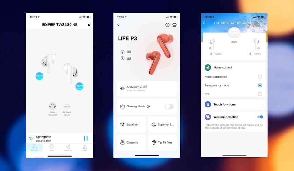 Earbuds that have companion apps, like these from Edifier, Soundcore and TCL, make it easier to change settings. Some also provide an equalizer, a great perk for those who like to tweak audio levels. (Photo: Rick Broida)