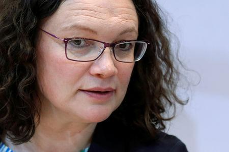 Andrea Nahles, leader of Germany's Social Democratic Party (SPD) attends a news conference following the European Parliament election results, in Berlin, Germany, May 27, 2019. REUTERS/Fabrizio Bensch