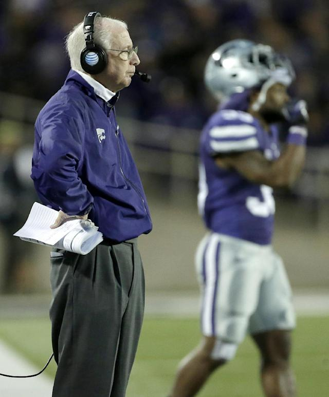 Kansas State coach Bill Snyder watches his team during the second half of an NCAA college football game against TCU, Saturday, Nov. 16, 2013, in Manhattan, Kan. Kansas State won 33-31. (AP Photo/Charlie Riedel)