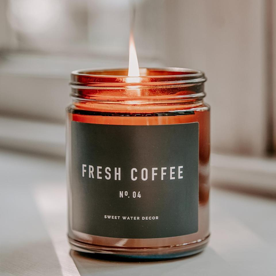 <p>If she loves the aroma of coffee, you can't go wrong with the <span>Fresh Coffee Soy Wax Candle Amber Jar Candle</span> ($20)</p>