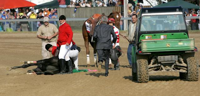 Track personnel attend to Eight Belles after she broke down after the finish of the 134th running of the Kentucky Derby at Churchill Downs, in Louisville, Kentucky, Saturday, May 3, 2008. (Getty Images)