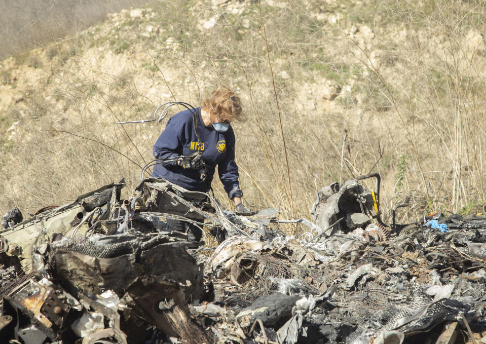 Investigators have concluded that the helicopter in the crash that killed Kobe Bryant did not suffer engine failure. (James Anderson/National Transportation Safety Board via AP)