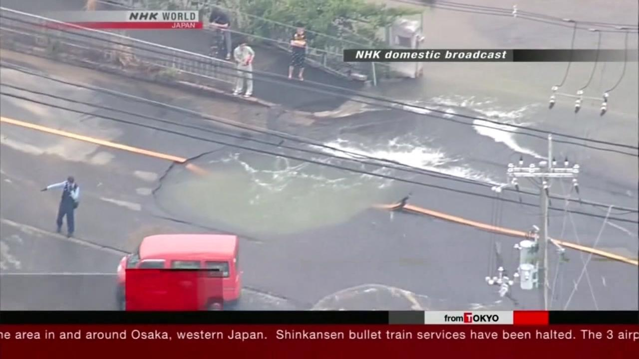 A powerful earthquake hit the area around Osaka, Japan's second-largest city of commerce, killing three people and injuring hundreds.