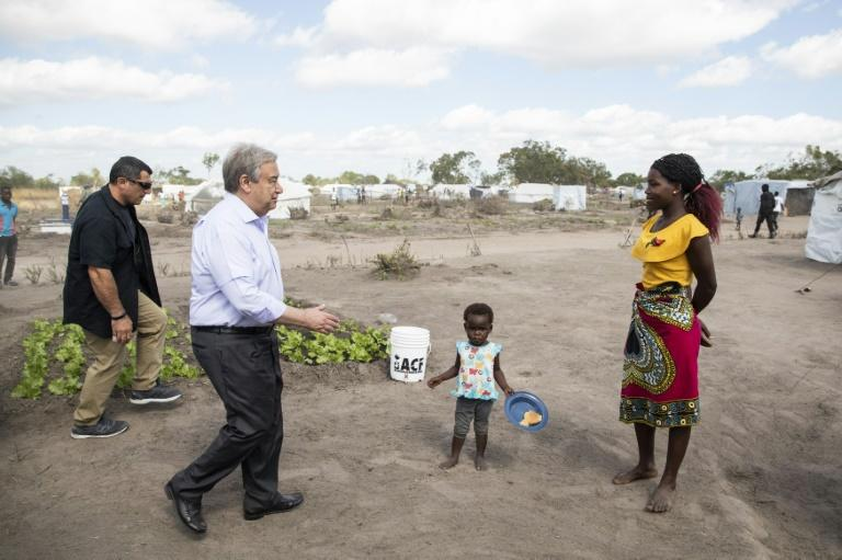 Guterres met people living at a resettlement camp in cyclone-hit central Mozambique