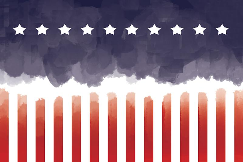 America illustration in water color style with USA flag colors