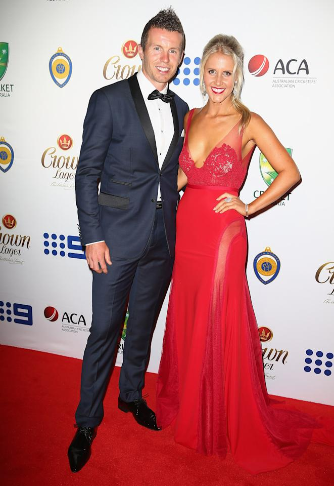 SYDNEY, AUSTRALIA - JANUARY 20:  Peter Siddle and Anna Weatherlake arrive at the 2014 Allan Border Medal at Doltone House  on January 20, 2014 in Sydney, Australia.  (Photo by Don Arnold/WireImage)