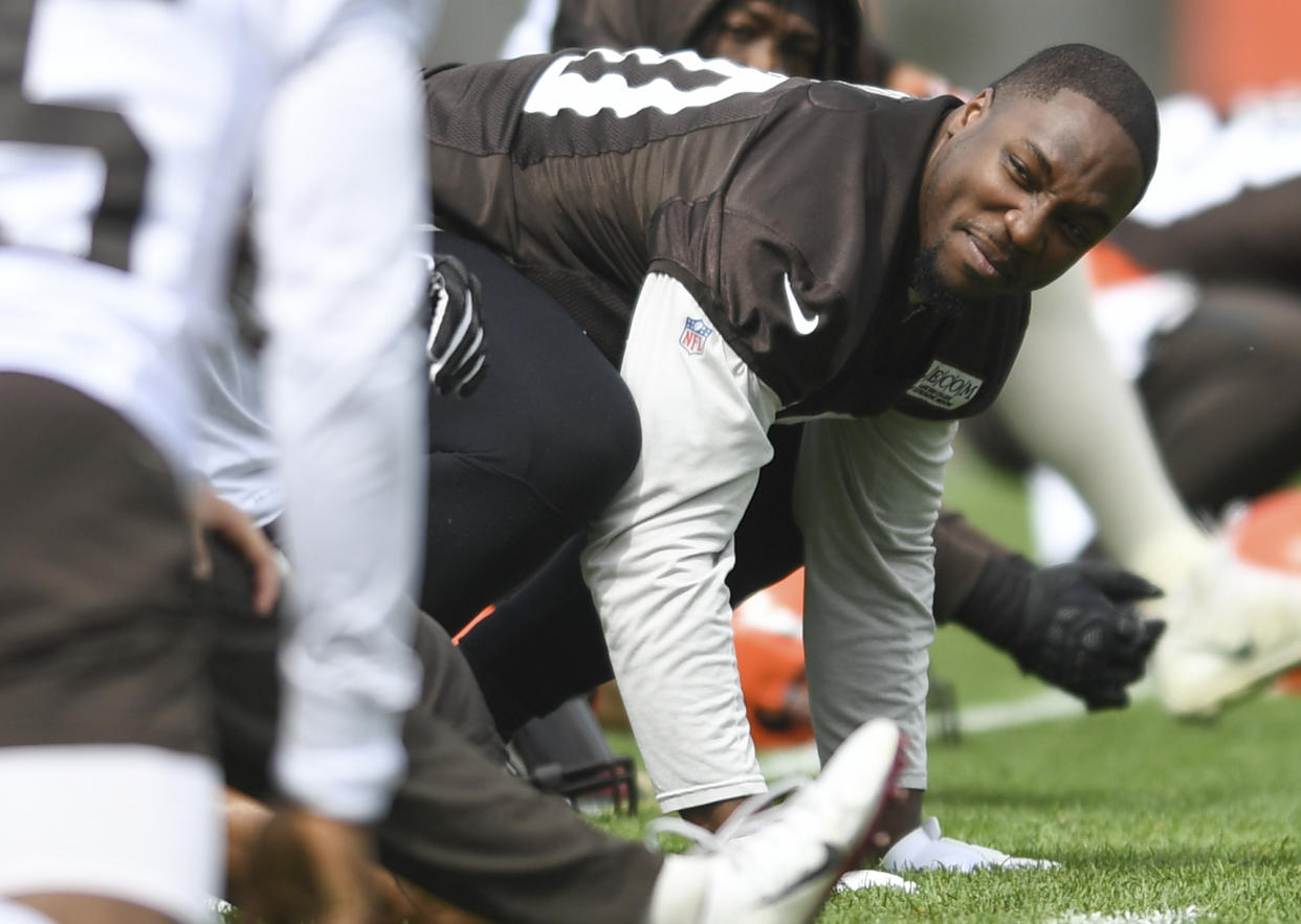 Cleveland Browns defensive end Chris Smith is mourning the death of his girlfriend, Petara Cordero, who was struck and killed early Wednesday. (Getty Images)