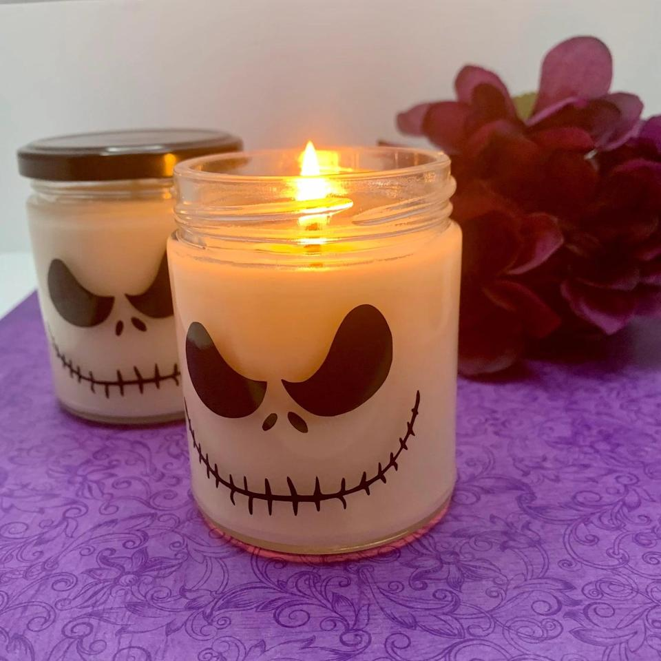"""<p>How do you think the Pumpkin King would feel about his own line of <a class=""""link rapid-noclick-resp"""" href=""""https://www.popsugar.com/Halloween"""" rel=""""nofollow noopener"""" target=""""_blank"""" data-ylk=""""slk:Halloween"""">Halloween</a> candles? This <span>Jack Skellington Candle</span> ($8) on Etsy would definitely make the collection. Candles are made from soy wax and can be bought in larger quantities. </p>"""