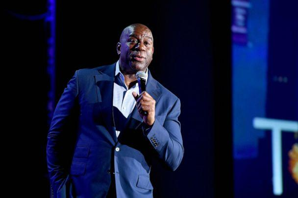 PHOTO: Earvin 'Magic Johnson, Chairman and CEO of Magic Johnson Enterprises speaks onstage at Marriott Marquis Times Square on Oct. 29, 2019 in New York City. (Craig Barritt/Getty Images, FILE)