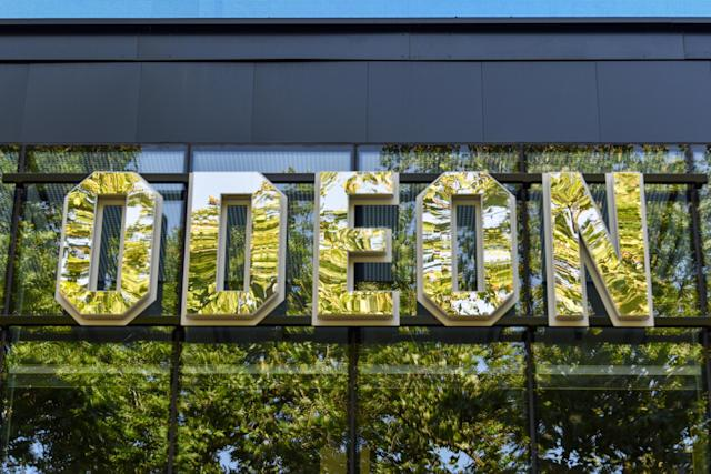 The Odeon Luxe cinema sign in London. (Dave Rushen/SOPA Images/LightRocket via Getty Images)