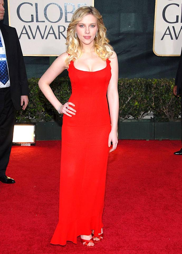"""Scarlett Johansson brought the va va voom in this red number from 2006. Kevin Mazur/<a href=""""http://www.wireimage.com"""" target=""""new"""">WireImage.com</a> - January 16, 2006"""