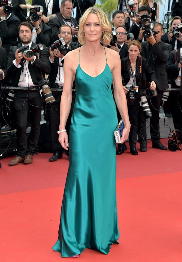 """<p>Robin Wright at the <a href=""""https://www.yahoo.com/movies/tagged/cannes-film-festival"""" data-ylk=""""slk:Cannes Film Festival"""" class=""""link rapid-noclick-resp"""">Cannes Film Festival </a>screening of <em>Loveless</em> (<em>Nelyubov</em>) on May 18, 2017 (Photo: Pascal Le Segretain/Getty Images) </p>"""