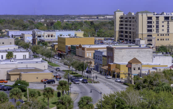 An aerial view of downtown Kissimmee, Florida.