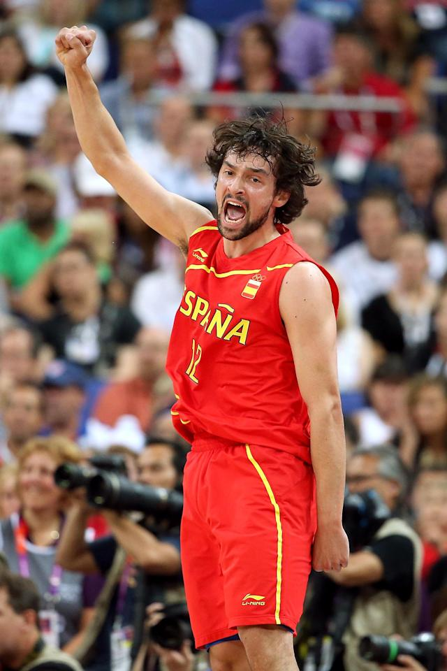 LONDON, ENGLAND - AUGUST 12: Sergio Llull #12 of Spain celebrates making a basket during the Men's Basketball gold medal game between the United States and Spain on Day 16 of the London 2012 Olympics Games at North Greenwich Arena on August 12, 2012 in London, England. (Photo by Christian Petersen/Getty Images)