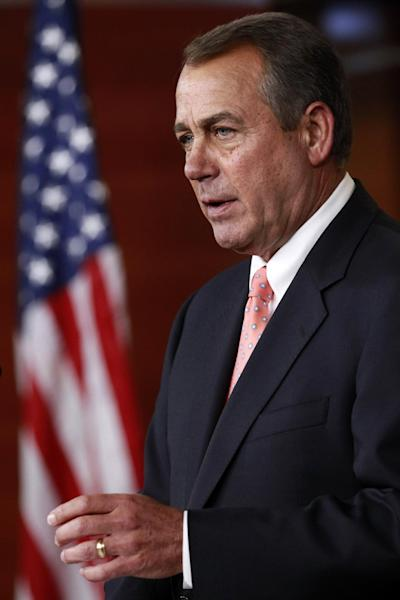 House Speaker John Boehner of Ohio speaks during his weekly news conference on Capitol Hill in Washington, Thursday, April 26, 2012. (AP Photo/Jacquelyn Martin)
