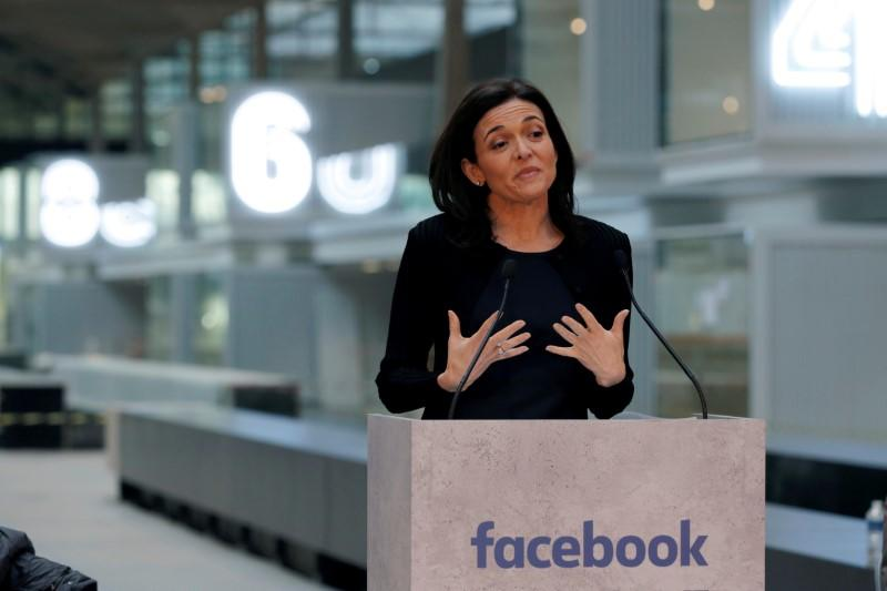 FILE PHOTO - Sheryl Sandberg delivers a speech during a visit in Paris