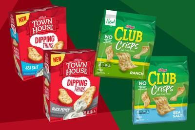 Kellogg is putting a new spin on two fan-favorite brands: Club® Crisps and Town House® Dipping Thins. (Photo Credit: Kellogg Company)