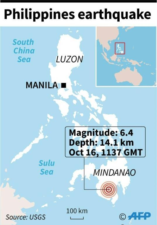 Map locating a 6.4 magnitude earthquake which hit the Philippines Wednesday. (AFP Photo/Jonathan WALTER)