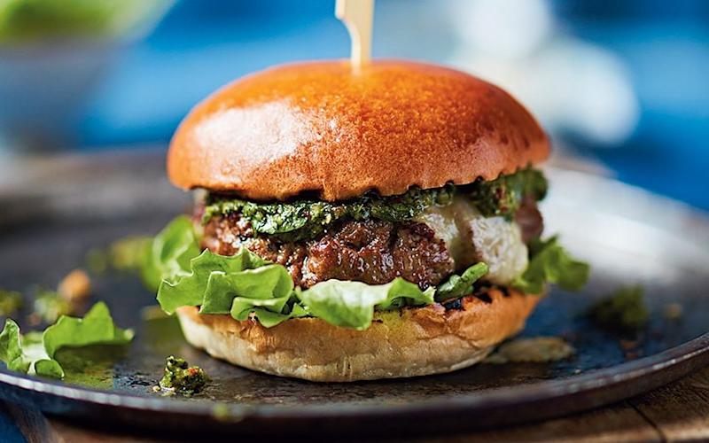 A classic juicy burger with a kick of herby Argentine sauce -