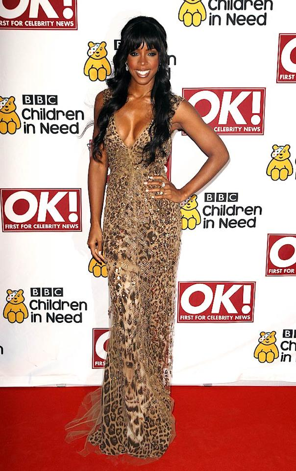 Also photographed rocking Roberto Cavalli was Beyonce's former bandmate, Kelly Rowland, who donned a sequined, leopard-print creation -- and De Beers jewels -- to this year's Children in Need gala in Manchester, U.K. (11/16/2011)
