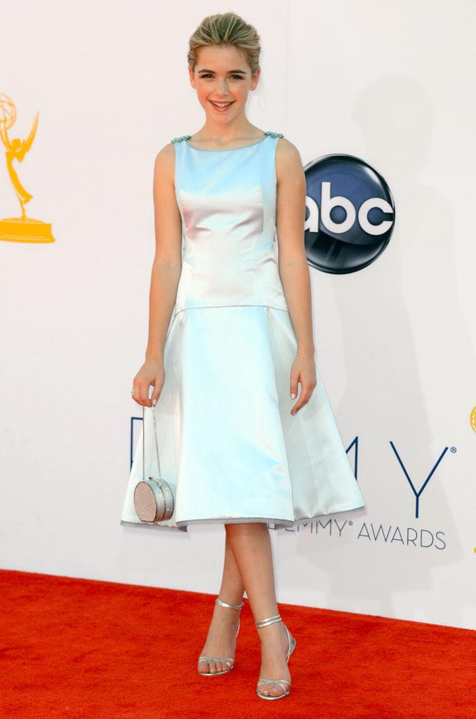 Kiernan Shipka arrives at the 64th Primetime Emmy Awards at the Nokia Theatre in Los Angeles on September 23, 2012.