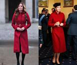 <p>This crimson L.K. Bennet coat has been seen on numerous occasions, including in November 2012 and February 2016. </p>