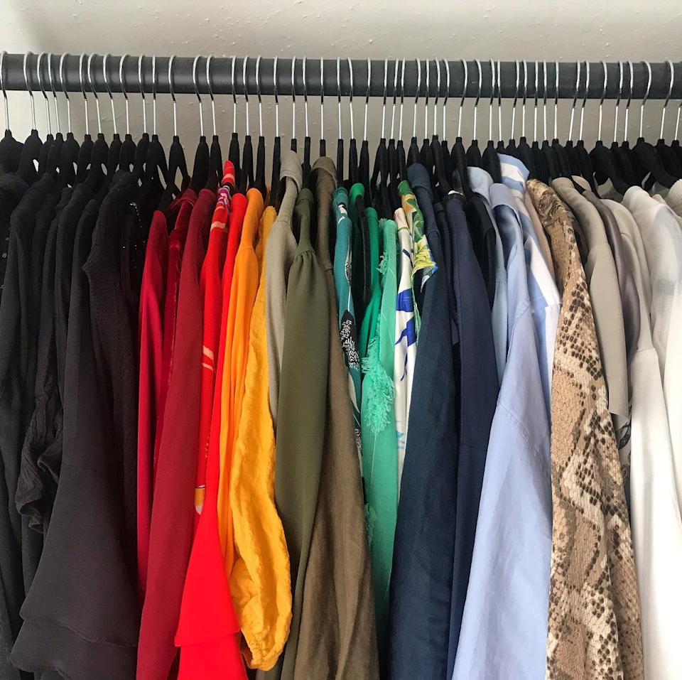 The wardrobe of dreams after being decluttered by Burditt.  (SWNS)