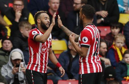 Southampton's Nathan Redmond celebrates scoring their second goal with Southampton's Ryan Bertrand