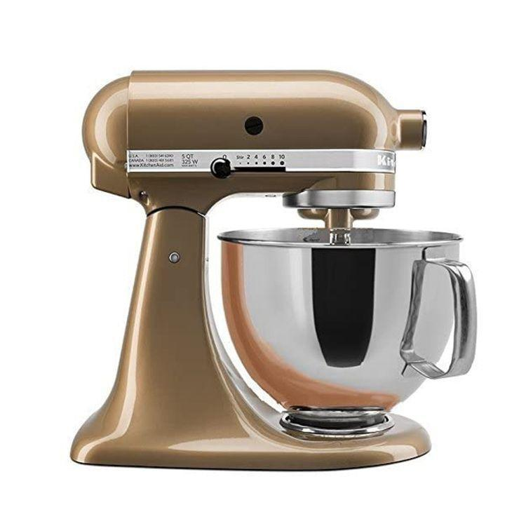 """<p><strong>KitchenAid</strong></p><p>amazon.com</p><p><strong>$439.99</strong></p><p><a href=""""https://www.amazon.com/dp/B01CRMY2B6?tag=syn-yahoo-20&ascsubtag=%5Bartid%7C2089.g.27965170%5Bsrc%7Cyahoo-us"""" rel=""""nofollow noopener"""" target=""""_blank"""" data-ylk=""""slk:Shop Now"""" class=""""link rapid-noclick-resp"""">Shop Now</a></p><p>This 5-quart tilt head stand mixer from KitchenAid is one of our favorite models from this household brand. We love the rich gold hue and versatility of this must-have kitchen appliance.</p>"""