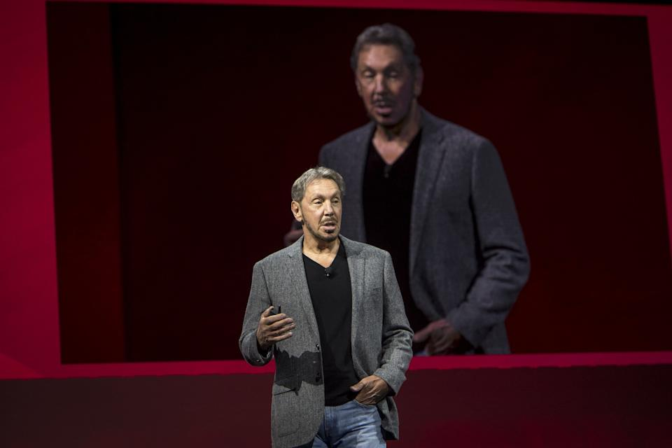 Larry Ellison, co-founder and executive chairman of Oracle Corp., speaks during the Oracle OpenWorld 2018 conference in San Francisco, California, U.S., on Monday, Oct. 22, 2018. Ellison announced a series of updates injecting more automation and intelligence into Oracle's cloud applications. Photographer: David Paul Morris/Bloomberg via Getty Images
