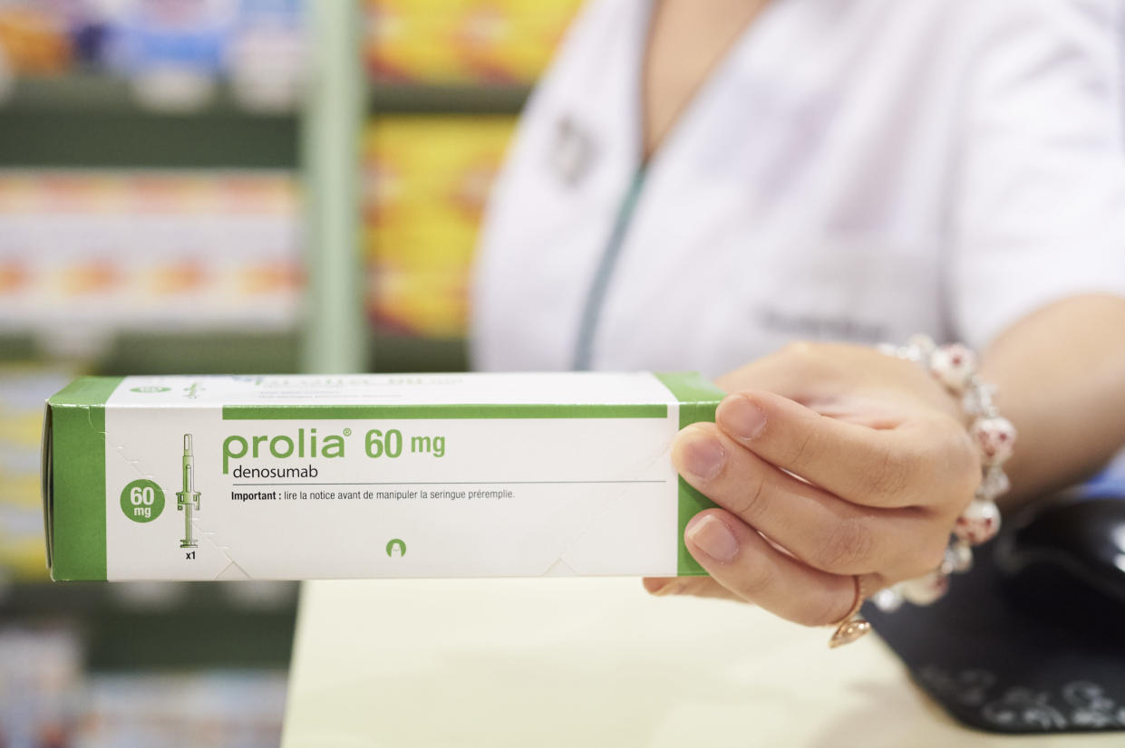 Prolia (denosumab) used to reduce the risk of broken bones in people with osteoporosis. (Photo by: Bienaime/BSIP/Universal Images Group via Getty Images)