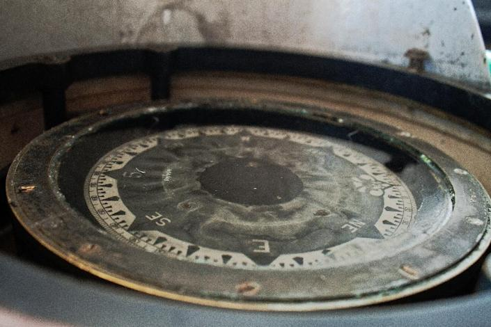 The original compass of the MV Liemba, a century old gunship gunship used during the reign of Kaiser Wilhelm II of Germany, seen in Lake Tanganyika (AFP Photo/Erin Byrnes)